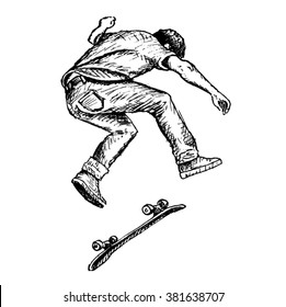 skateboarder vector sketch