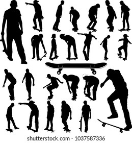 Skateboarders big collection silhouettes - vector