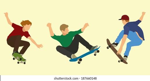 Skateboarders Doing Tricks on Skateboards
