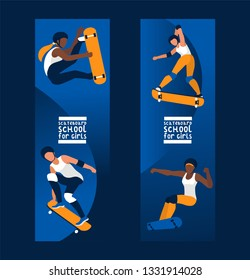 Skateboarders on skateboard vector skateboarding boy or girl characters backdrop teenager skaters jumping on board in skatepark illustration set of people skating background