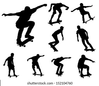skateboarders silhouettes collection