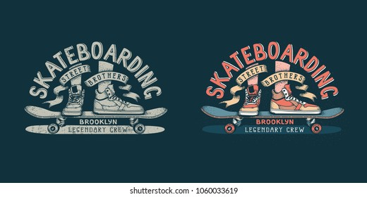 Skateboarding brooklyn retro emblem with legs in sneakers and skateboard on dark background. Color and monochrome version.