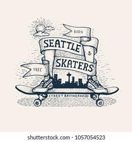 Skateboarding emblem in sketch style