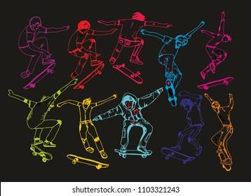 skateboarding graphic design vector art