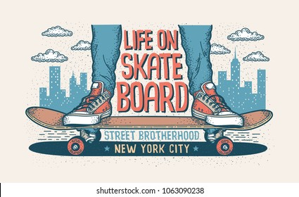 Skateboarding hipster handcrafted illustration with legs in classic sneakers standing on a skateboard