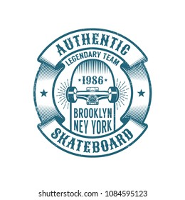 Skateboarding logo in retro style. Skateboard in heraldic ribbon with inscriptions. Worn textures on a separate layer.
