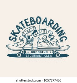 Skateboarding retro emblem. Monochrome print design with feet in sneakers and skateboard.