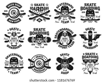 Skateboarding set of twelve vector emblems, labels, badges or logos in vintage monochrome style isolated on white background