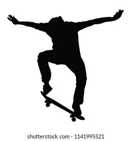 Skateboarding, Silhouette on the White background