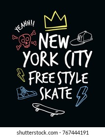 Skateboarding t-shirt design.  Skateboard theme slogan graphic. Vectors for t-shirt and other uses
