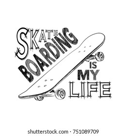 Skateboarding t-shirt design. Urban skating. Skateboard typography.