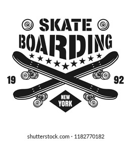 Skateboarding vector emblem with two crossed skate decks in vintage monochrome style isolated on white background