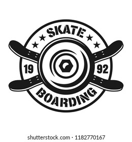 Skateboarding vector emblem with wheel and two crossed skate decks in vintage monochrome style isolated on white background