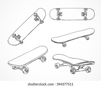 Skateboarding vector illustration. Hand sketched skateboards