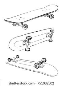 Skateboarding vector illustration. Hand sketched skateboards.