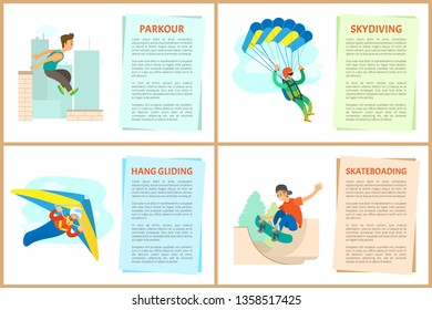 Skateboarding vector, paragliding and hang gliding, skydiving and parkour, poster with text sample. Extreme hobby of people, skydiver and skateboarder