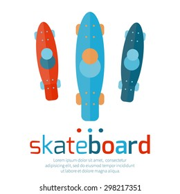 Skateboards top view on a white background. Vector illustration.