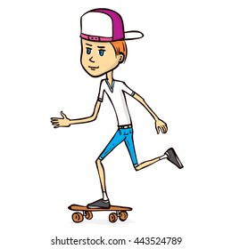 Skater boy. Hand drawn cartoon vector illustration.