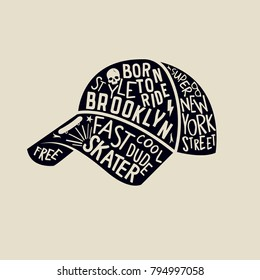Skater cap with text design. New York skater vector print.