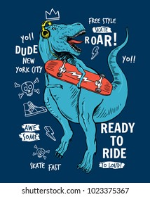 Skater dinosaur vector illustration with slogans, for t-shirt prints  and other uses.