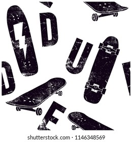 Skater dude seamless pattern. Skateboards vector print. Dude repeat pattern.