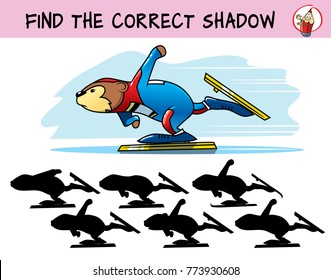 Skater. Find the correct shadow. Educational matching game for children. Cartoon vector illustration