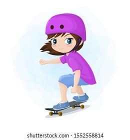 Skater girl happy , Vector illustration
