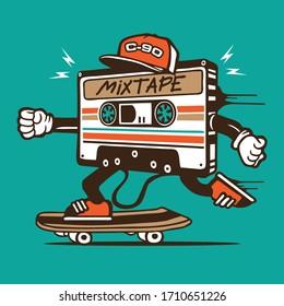 Skater Mixtape Cassette 80's Stuff Skateboarding Character Design