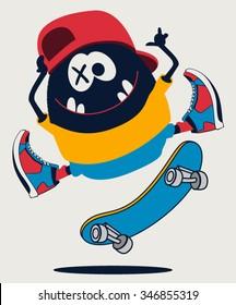 skater monster vector design