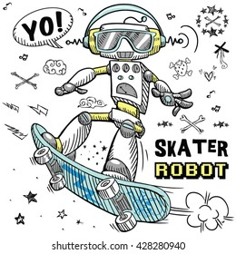 skater robot character design tee graphic