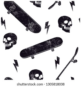 Skater skull seamless pattern. Skateboards and skull drawing.Vector print.