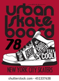 skater, sneakers graphic design for tee