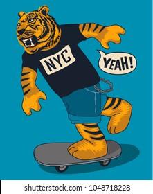 skater tiger vector design