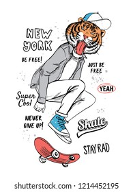 Skater tiger vector illustration for t-shirt prints and other uses.