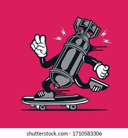 Skater Vintage Atomic Bomb Skateboarding Character Design