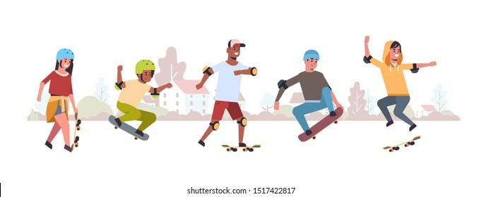 skaters performing tricks in public skate board park skateboarding concept mix race teenagers having fun riding skateboards landscape background flat full length horizontal