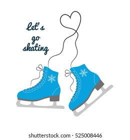 "The skates icon with text ""Let's go skating"". Figure skates symbol. Flat Vector illustration."