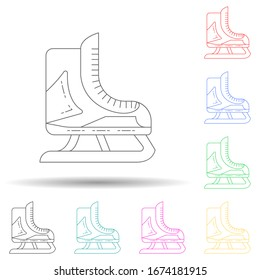 skates multi color style icon. Simple thin line, outline vector of winter icons for ui and ux, website or mobile application