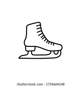 Skates outline icon. Hand drawn doodle outline symbol of figure skating. Vector icon isolated on white background