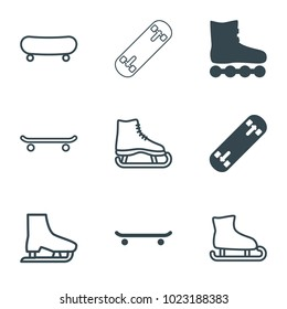 Skating icons. set of 9 editable filled and outline skating icons such as roller skate, ice skate