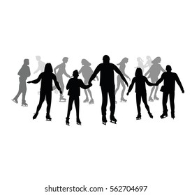 Skating people silhouette isolated on white background.
