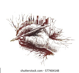 Skech of Hand holding pen isolated on white background with urban city - skyline Vector Illustration