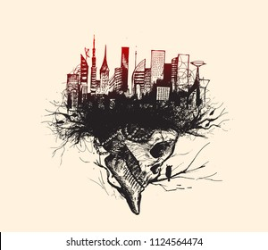 Skech of Skull isolated on white background with urban city - skyline Vector Illustration