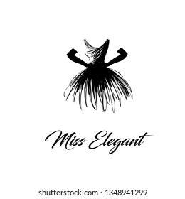 skeched dress logo with gloves illustration