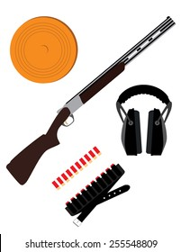 Skeet rifle,headphones for shooting, buckshot and clay disk, hunting rifle, sport equipment,