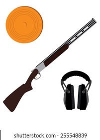 Skeet rifle,headphones for shooting and clay disk, hunting rifle, sport equipment,