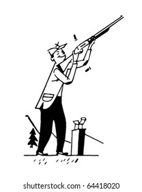 Skeet Shooting - Retro Clipart Illustration
