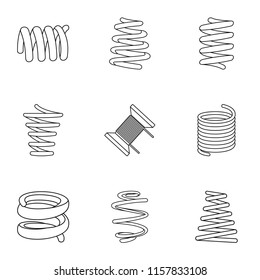 Skein icons set. Isometric set of 9 skein vector icons for web isolated on white background