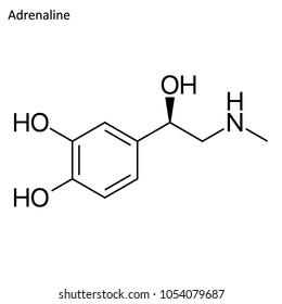 Skeletal formula of Adrenaline. stimulant molecule.