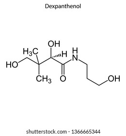Skeletal formula of Dexpanthenol. Vitamin chemical molecule.